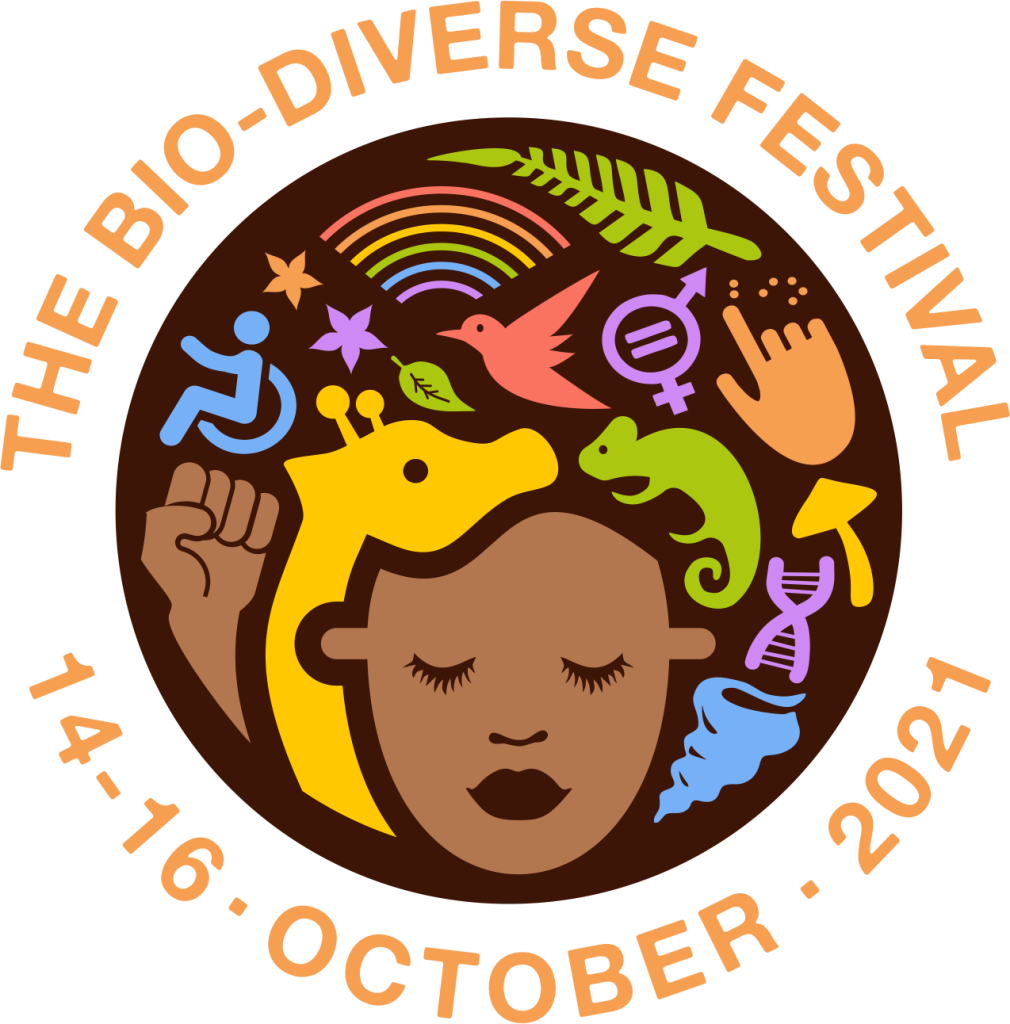 """The Bio-diverse Project logo with the words """"Bio-Diverse Festival"""" at the top and """"14-16 October 2021"""" written at the bottom in orange."""